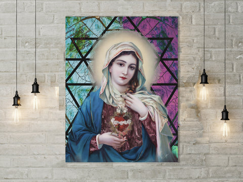 Mary Sacred heart Image Photo Canvas Painting mary sacred heart meaning