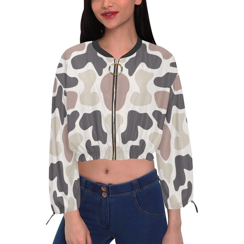 Simply Clouded Camo Cropped Chiffon Women's Jacket