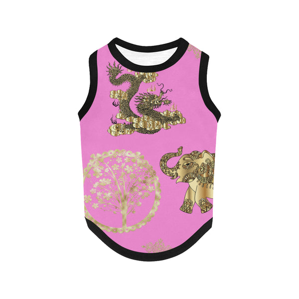 Pucci Vuitton Lucky ELEMENTS Pink All Over Print Pet Tank Top