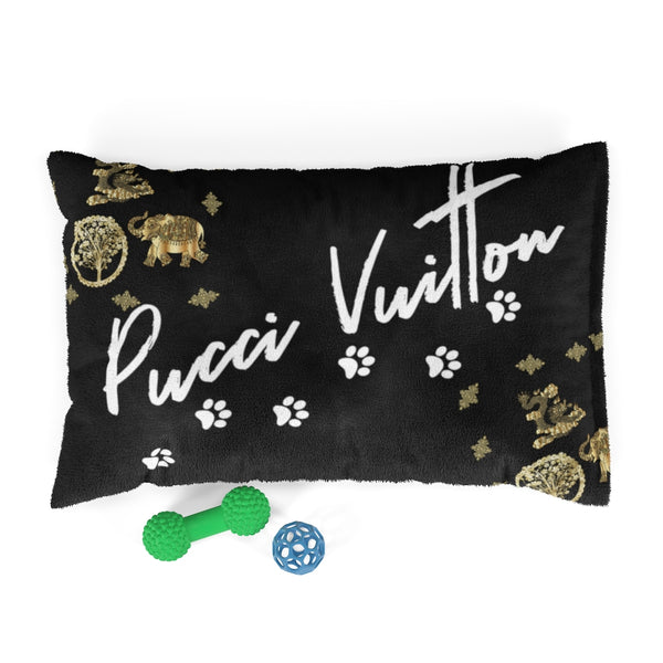 Pucci Vuitton 3 Lucky Elements Black Pet Bed