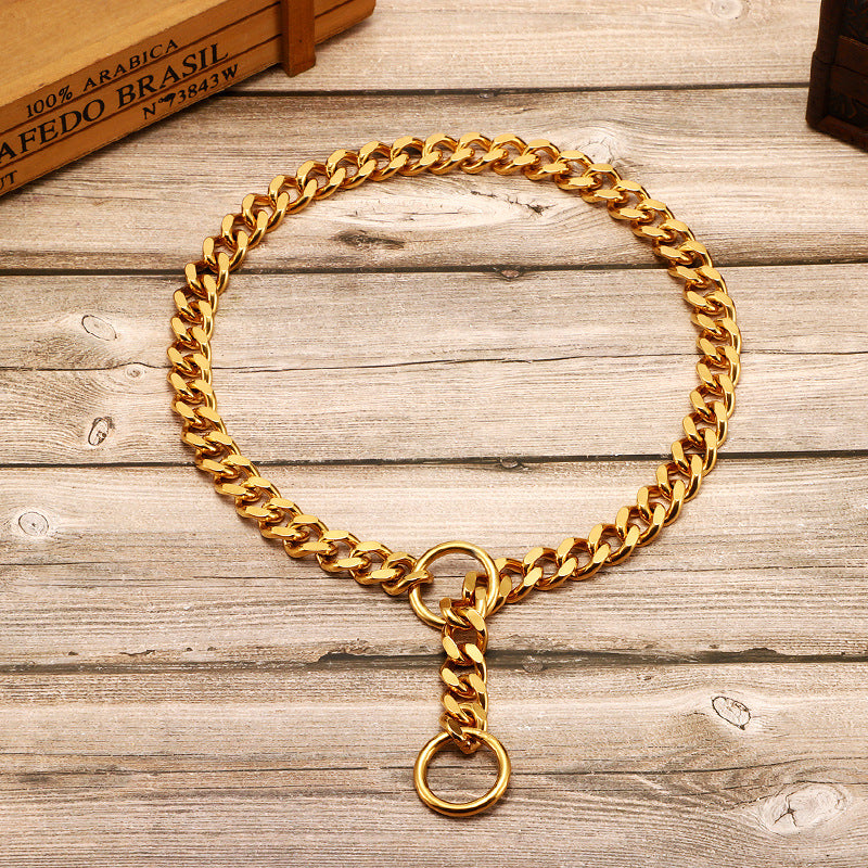 Stainless steel Golden Pull Chain Pull Dog Leash