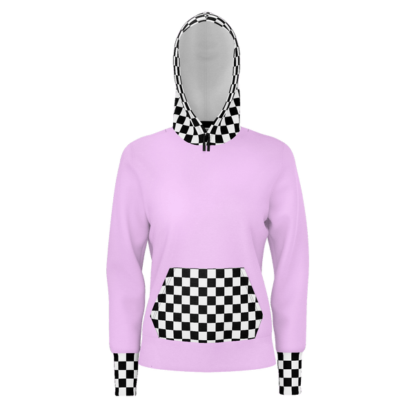 """CHECKERED ME OUT"" Pink Hoodie - ENE TRENDS"