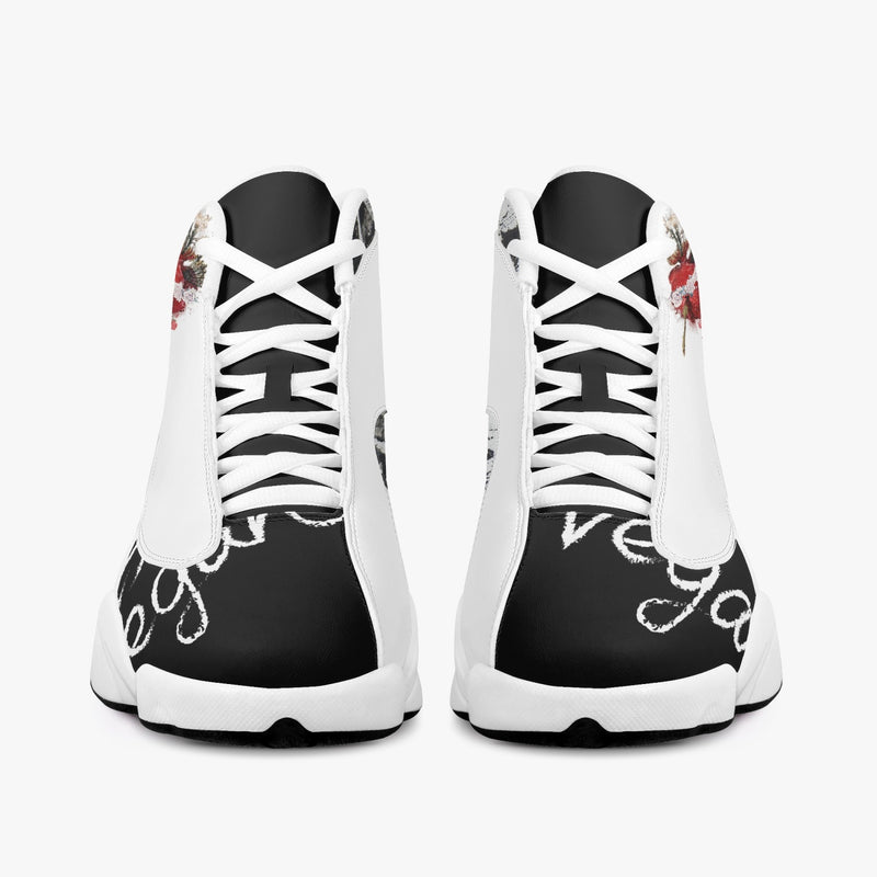 Sacred Heart High-Top Vegan Leather Basketball Unisex Sneakers - White