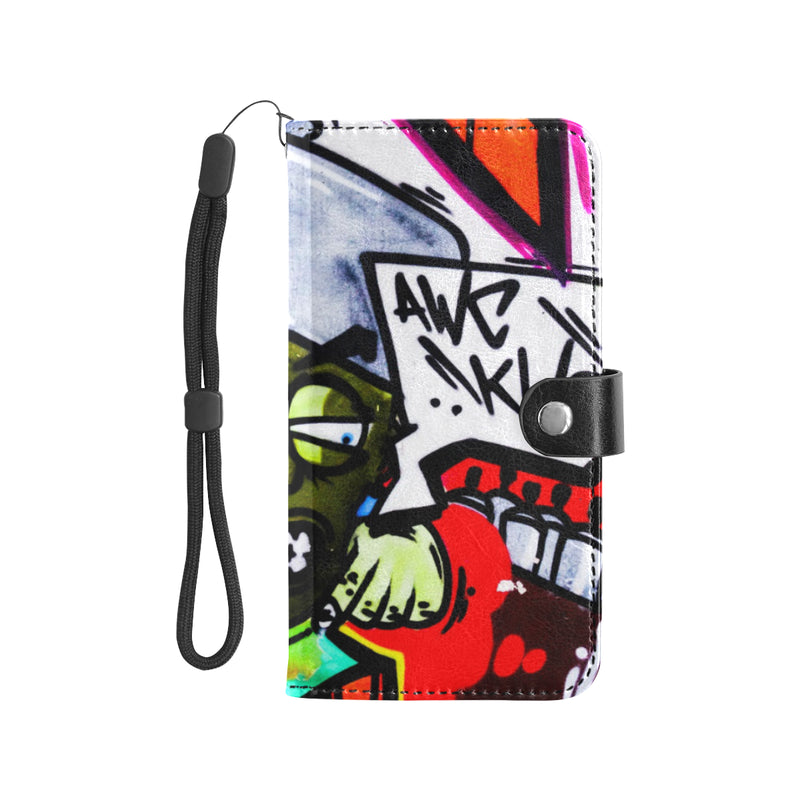 Graffiti Aggravated Leather Phone Wallet