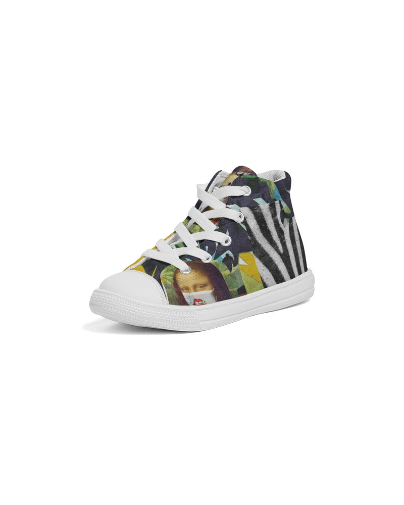 Mona Lisa On 1 Kids Hightop Hand-Made Canvas Shoe