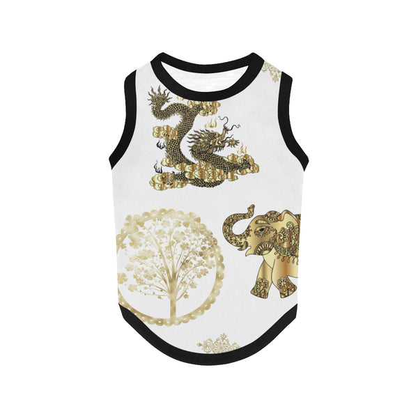 Pucci Vuitton LUCKY ELEMENTS White All Over Print Pet Tank Top