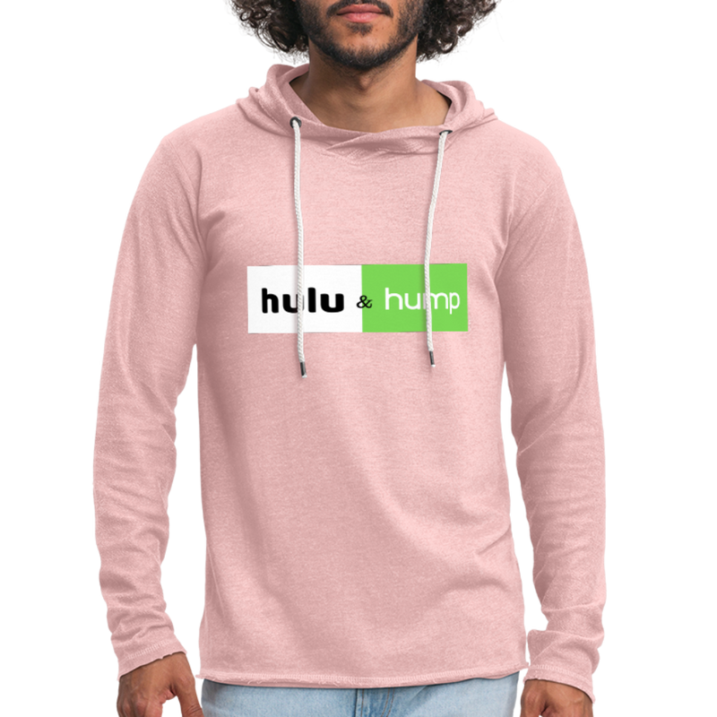 Hulu and Hump Unisex Lightweight Terry Hoodie - cream heather pink