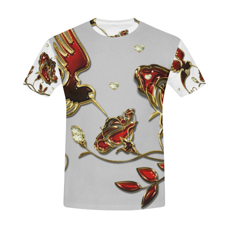Hummingbird White ART MANIFESTED T-Shirt (Cut and Sew Made to Order) - ENE TRENDS
