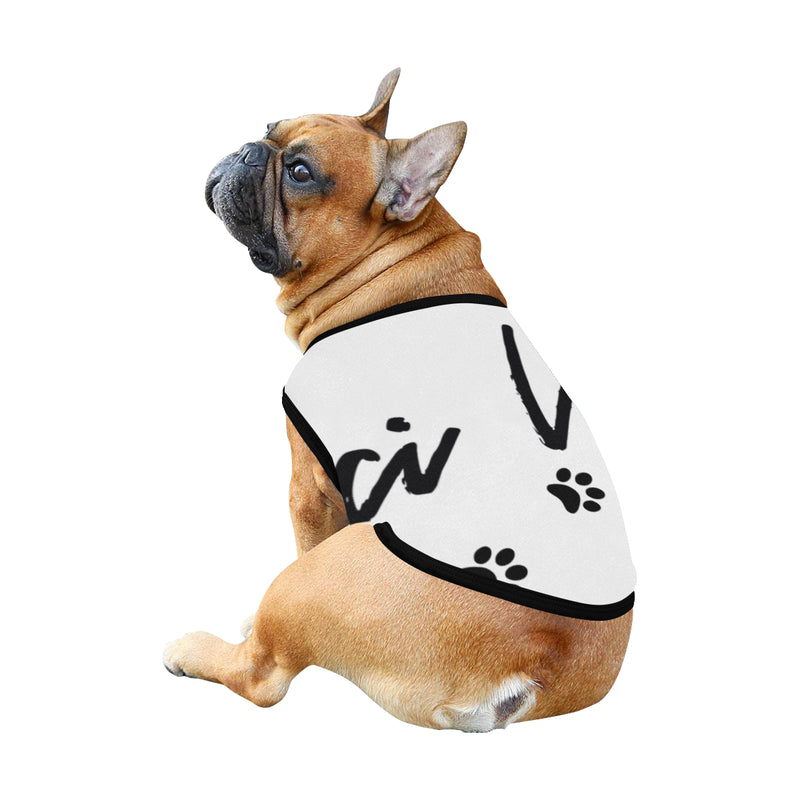 Pucci Vuitton Logo White All Over Printed Pet Tank Top