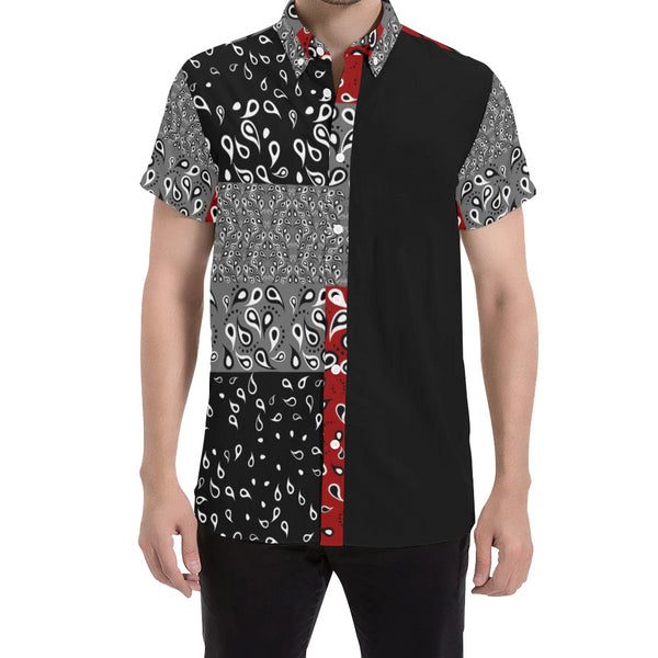 VAQUERO Black/MAROON SHORT SLEEVE SHIRT 'CUT & SEW MADE TO ORDER' - ENE TRENDS