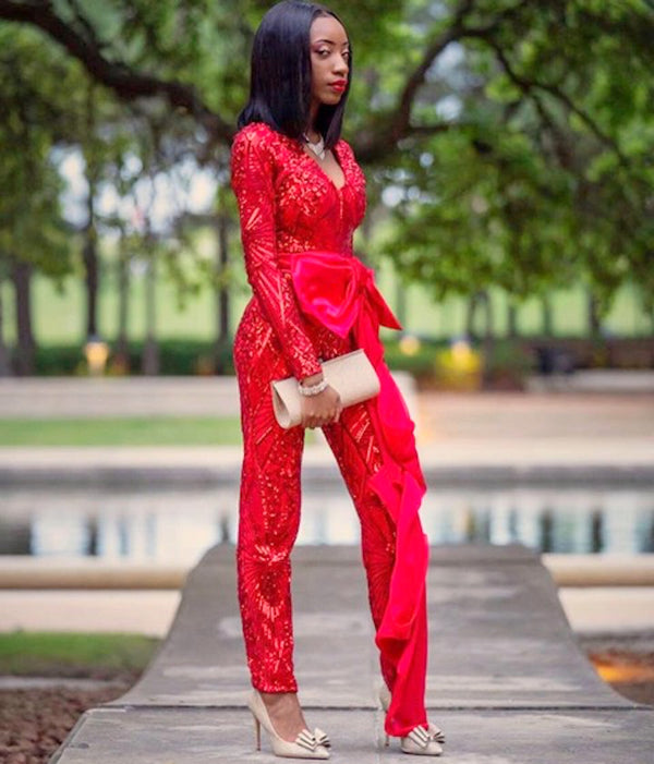 Red Luminous Sheer Sequin w/ Satin Jumpsuit