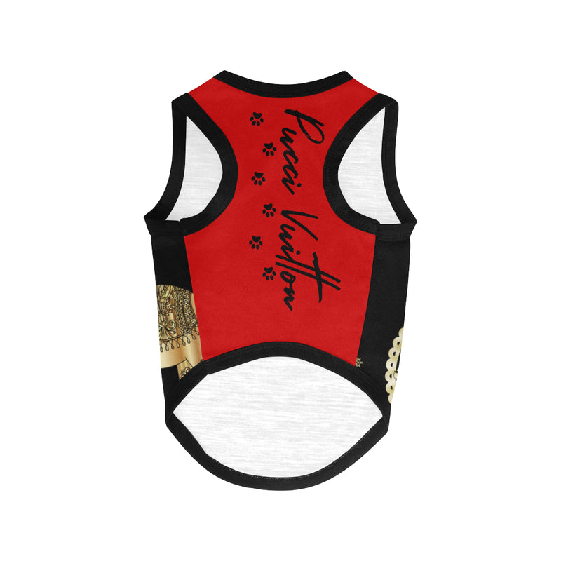 Pucci Vuitton LUCKY ELEMENTS Black/Red All Over Printed Pet Tank Top