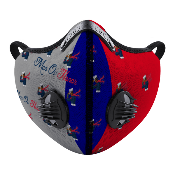 Men Ov Honor Red/Gray Blue Custom Face Mouth Mask