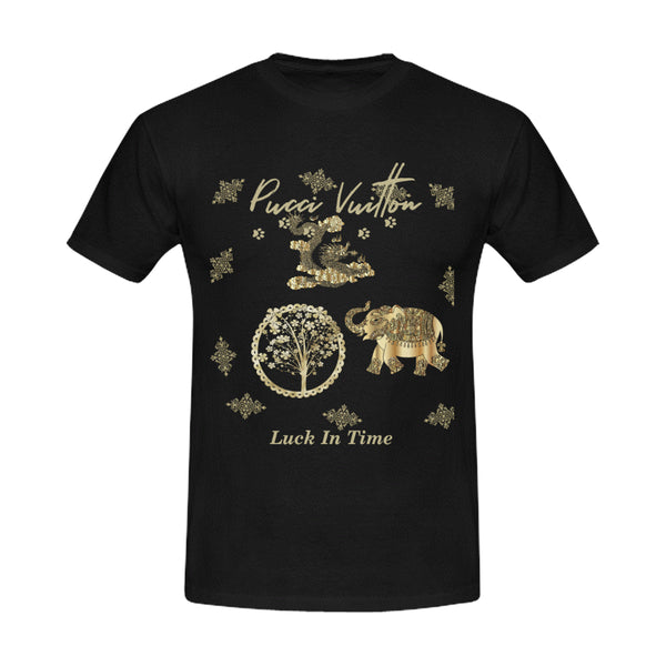 Pucci Vuitton Lucky In Time Gold Unisex T-shirt