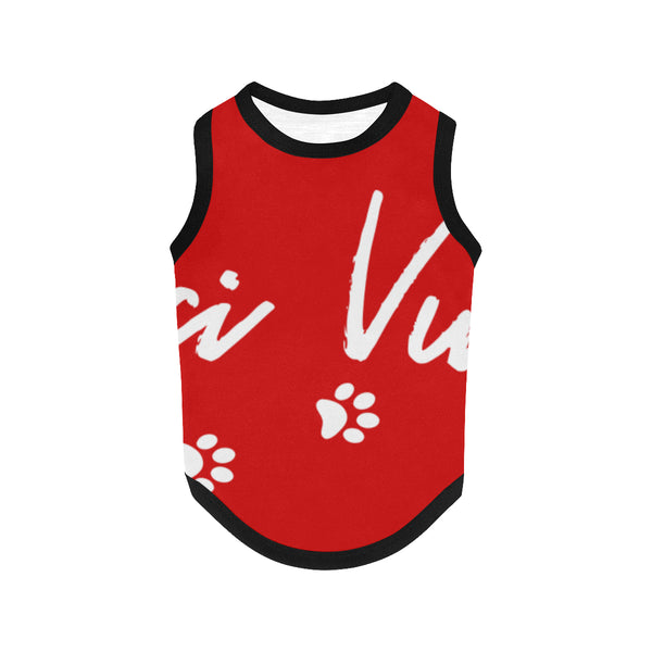 Pucci Vuitton Logo - Red All Over Printed Pet Tank Top