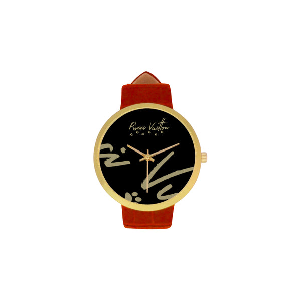 Pucci Vuitton LGO Gold Women's Leather Strap Watch