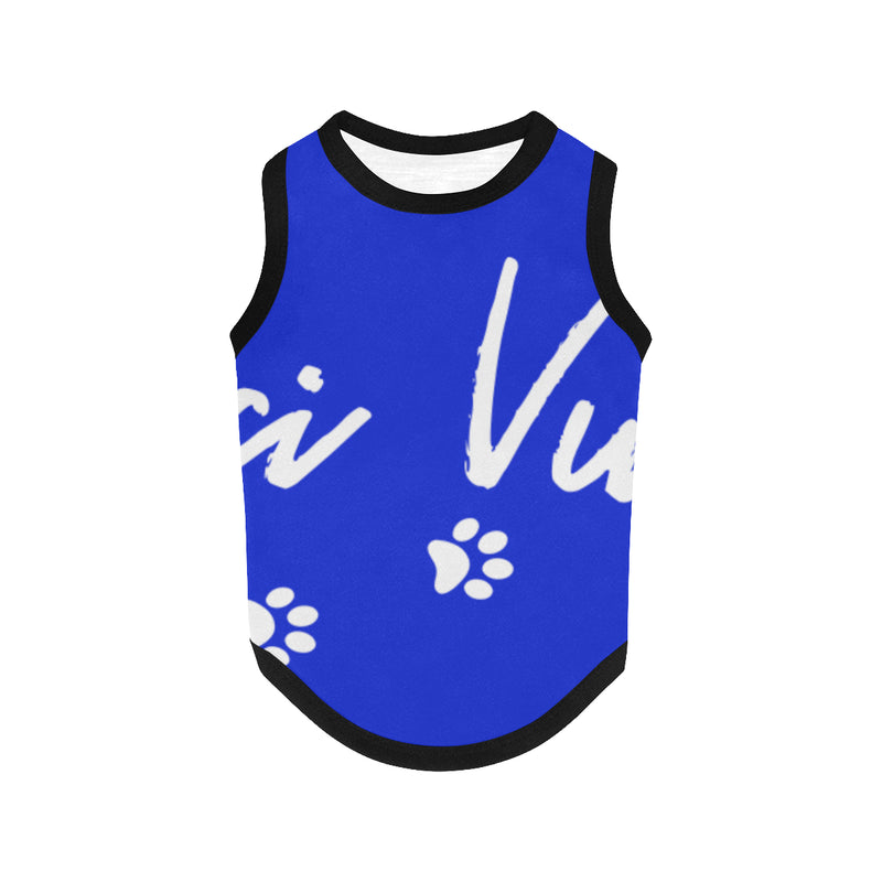 Pucci Vuitton Logo - Blue All Over Printed Pet Tank Top