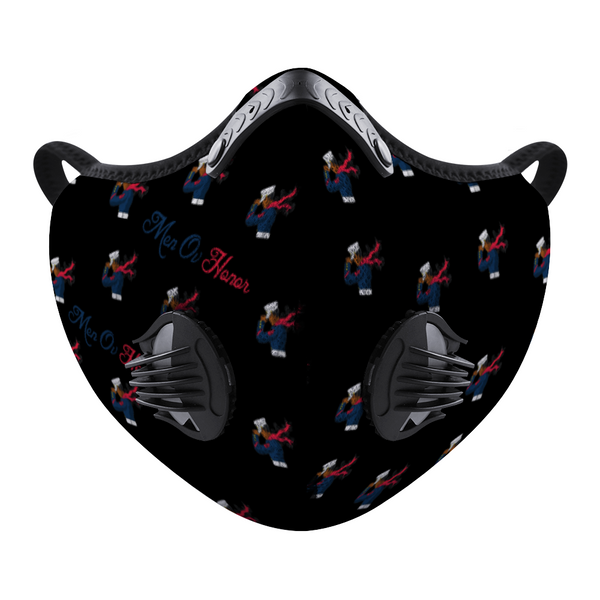 Men Ov Honor All Black Custom Face Mouth Mask