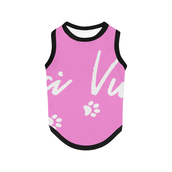 Pucci Vuitton Logo Light Pink All Over Printed Pet Tank Top