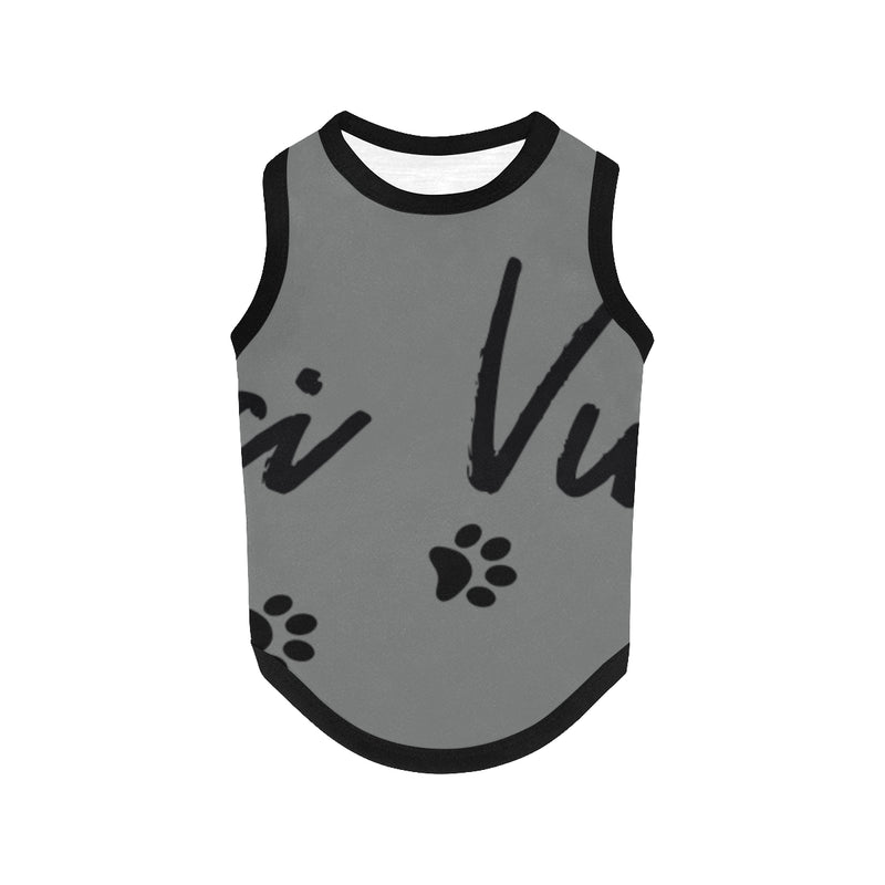 Pucci Vuitton Logo Grey All Over Printed Pet Tank Top