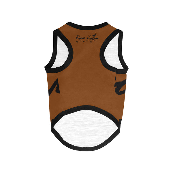 Pucci Vuitton Logo Brown All Over Printed Pet Tank Top