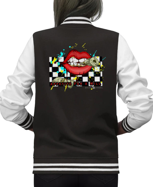 MONEY HUNGRY TIME FOR A MILL Ladies Varsity Jacket - ENE TRENDS