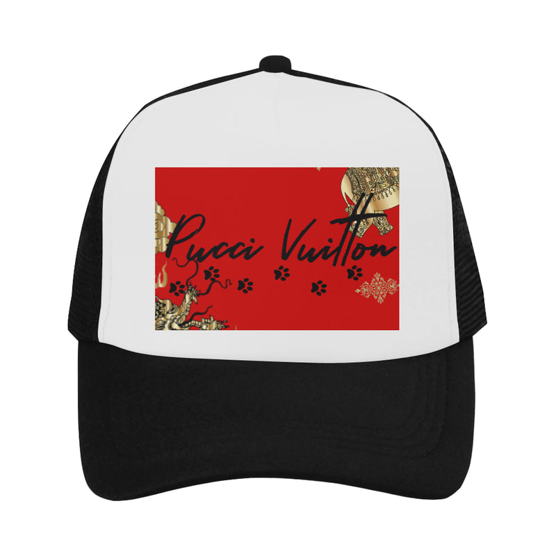 Pucci Vuitton Gold Elements Signature Logo - Red Trucker Hat