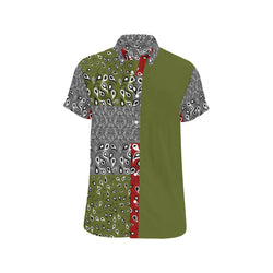 Vaquero (Green/Maroon) SHORT SLEEVE SHIRT 'CUT & SEW MADE TO ORDER' - ENE TRENDS