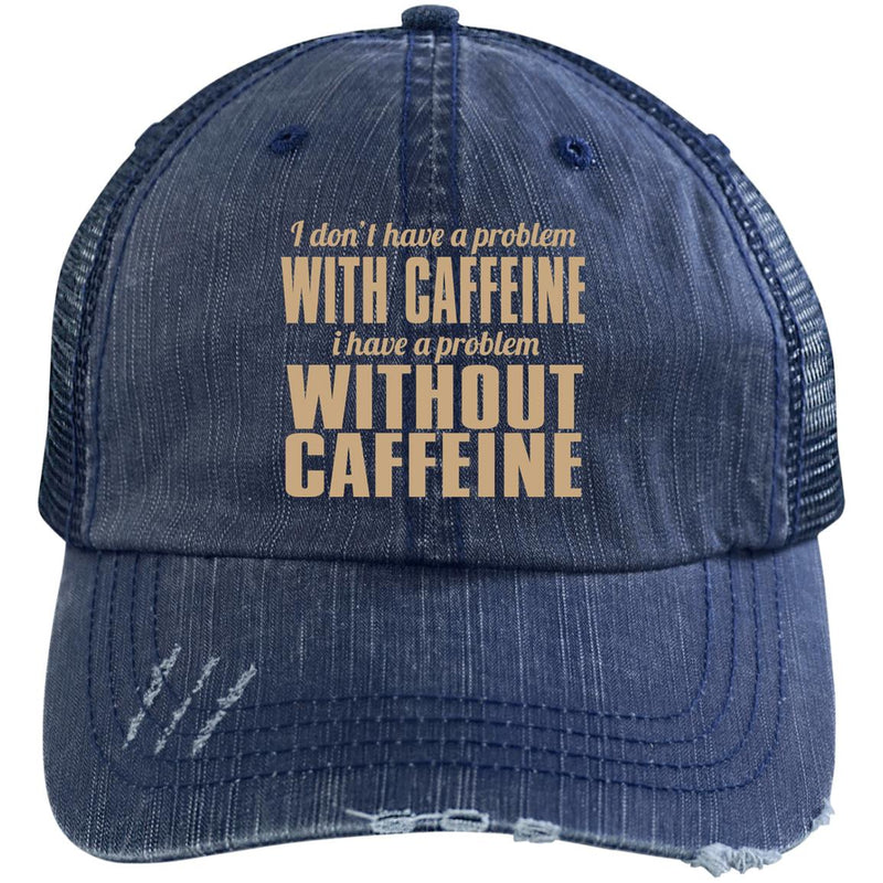 """COFFEE PROBLEM"" Distressed Trucker Cap - ENE TRENDS"