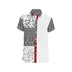 Vaquero White MAROON SHORT SLEEVE SHIRT 'CUT & SEW MADE TO ORDER' - ENE TRENDS