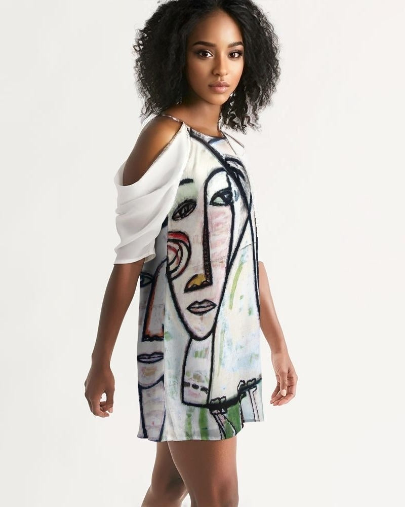 Abstract Gemini Handmade Women's Open Shoulder A-Line Dress