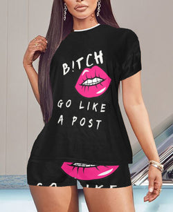 B!TCH GO LIKE A POST Women's Short Pajama Set