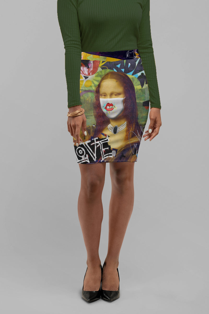 Mona Lisa On One Women's Pencil Skirt
