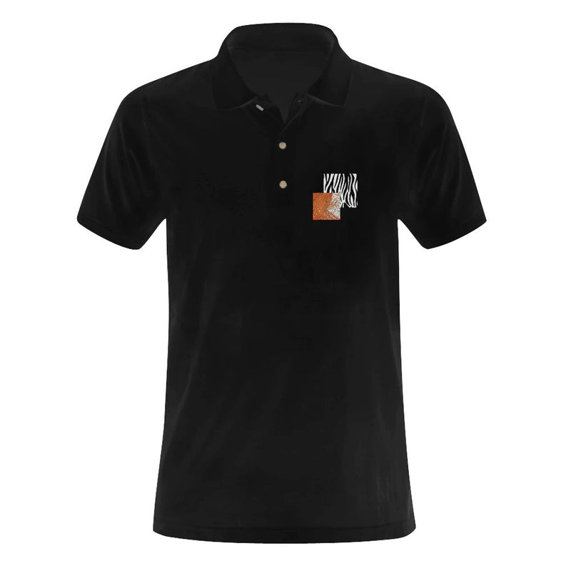 Network Z Black Embroidered Art-Pop Polo Shirt