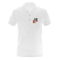Network Z White Embroidered Art-Pop Polo Shirt
