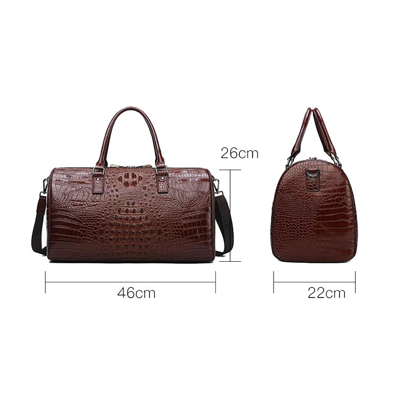 100% Genuine Leather Alligator Pattern Travel Bag (Free Express Shipping) - ENE TRENDS