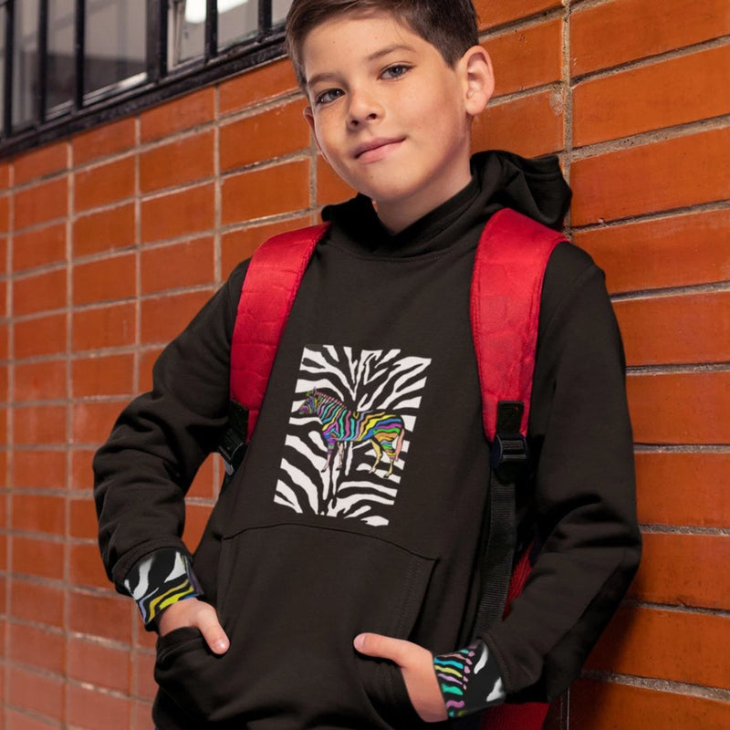 ZEBRA ZE Unisex Kids Hoodie (Eco-Friendly) BLACK