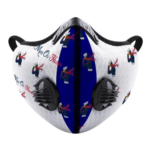 Men Ov Honor White/Blue Custom Face Mouth Mask