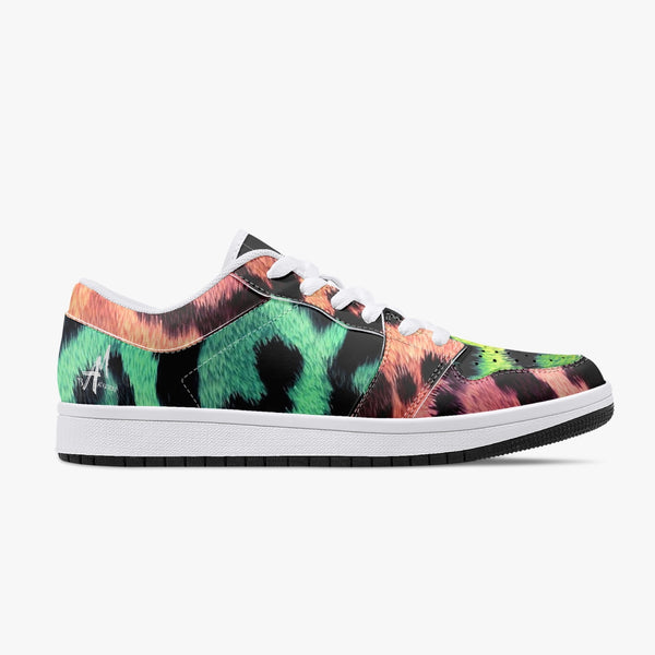 Rainbow Leopard Low-Top Leather Sneakers - White/Black