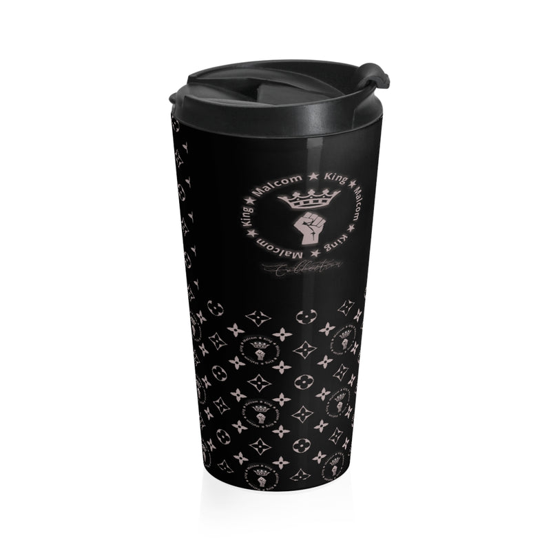 Malcom King Collection Black LV Styled Stainless Steel Travel Mug
