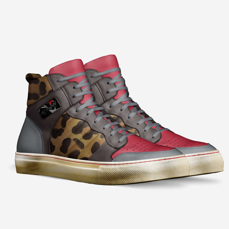 """CHEETA IMPRESSION"" Limited Edition Custom Retro Basketball Sneakers (Up to Size 17.5) - ENE TRENDS"