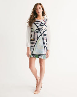 Abstract Gemini Handmade Women's Long Sleeve Chiffon Dress
