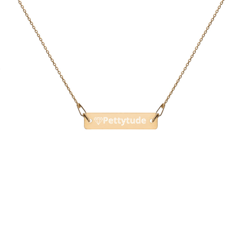 Pettytude Engraved Silver Bar Chain Necklace - ENE TRENDS