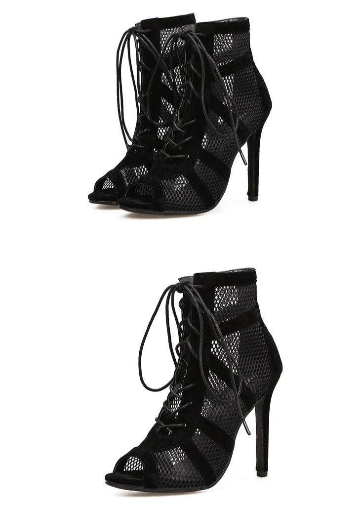 CAMILA Black Mesh Lace Up Ankle Boots