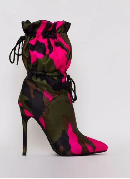 MORGAN Camouflage Stiletto Ankle Boots