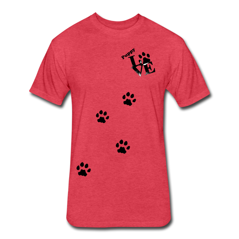 Puppy aLove Fitted Cotton/Poly T-Shirt by Next Level - heather red