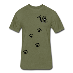 Puppy aLove Fitted Cotton/Poly T-Shirt by Next Level - heather military green