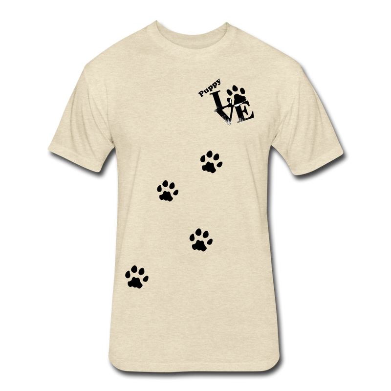 Puppy aLove Fitted Cotton/Poly T-Shirt by Next Level - heather cream