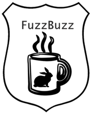 Police shield with steaming cup of coffee inside, rabbit on side of cup.