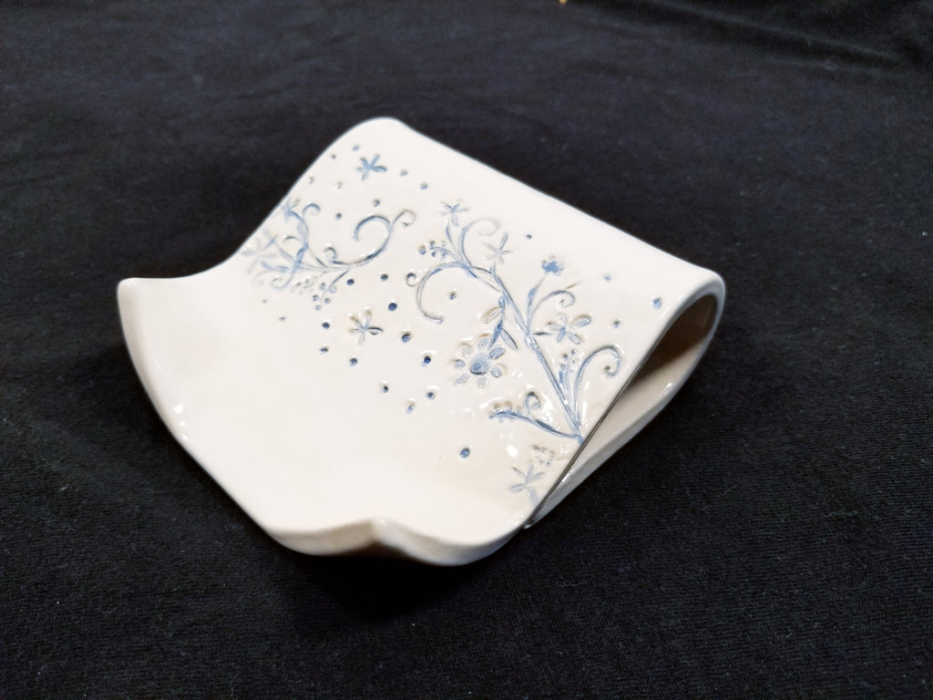 White and blue porcelain soap dish